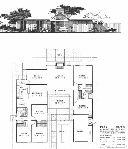 This is the floor plan for the double gable eichler my Eichler atrium floor plan