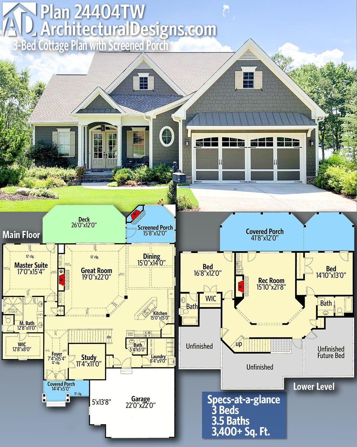 Plan 24404tw 3 Bed Cottage Plan With Screened Porch In 2020 Craftsman House Plan Cottage Plan Craftsman House