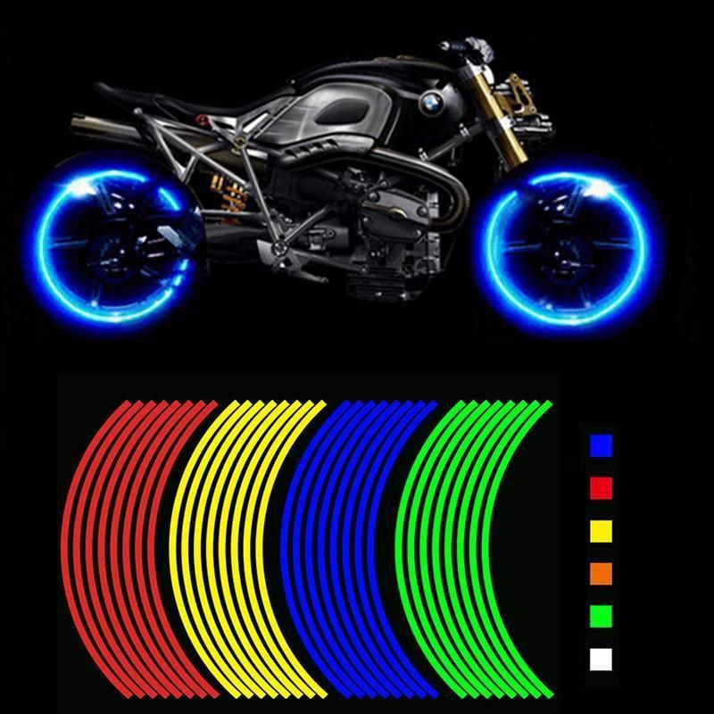 Motorcycle Styling Wheel Hub Rim Stripe Reflective Decal Stickers Safety  Reflect #FIRSTPLUS | Reflective decals, Wheel rims, Waterproof stickers