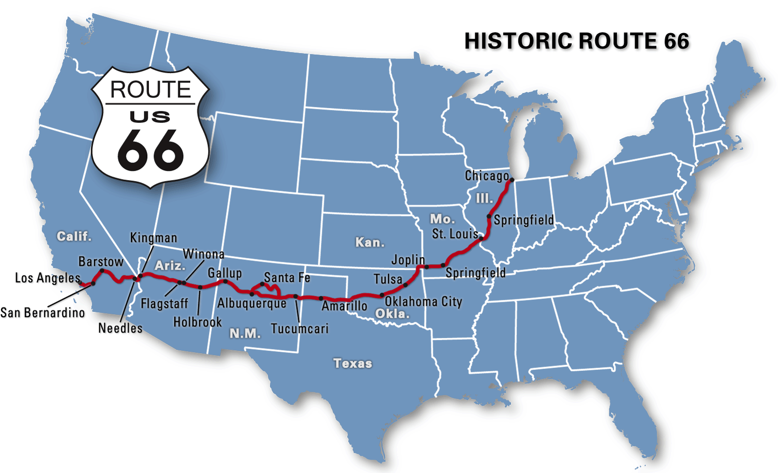 Map Of America Showing Route 66.Pin On Road Tripping