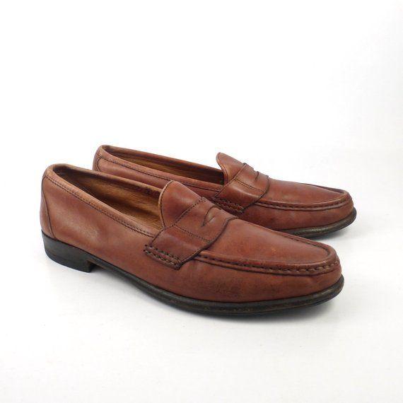 8a0d8eb115b6 Ferragamo Loafers Shoes Vintage 1980s Brown Leather Detail men s size 10 B
