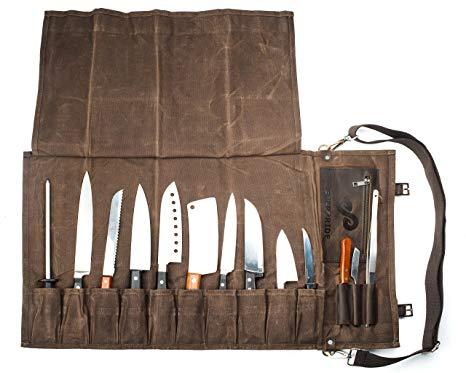 Amazon Com Chef Knife Roll Bag 13 Slots Stores 10 Knives 3 Kitchen Utensils Plus A Zipper Durable Waxed Canvas Kn Knife Roll Chef Knife Bags Chef Knife