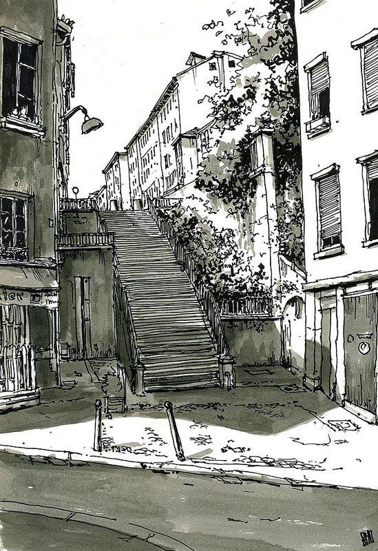 Escaliers Rue Celu Lyon France Dessin Architecture Ville