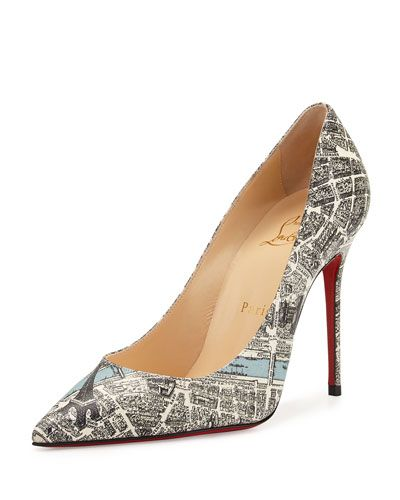 df76be04e41e CHRISTIAN LOUBOUTIN Decollete Paris Map 100Mm Red Sole Pump