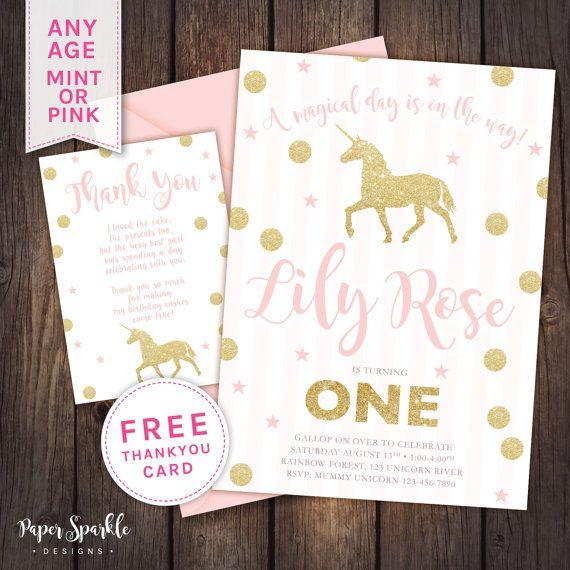 unicorn glitter effect, digital birthday invitation, available for, Birthday invitations