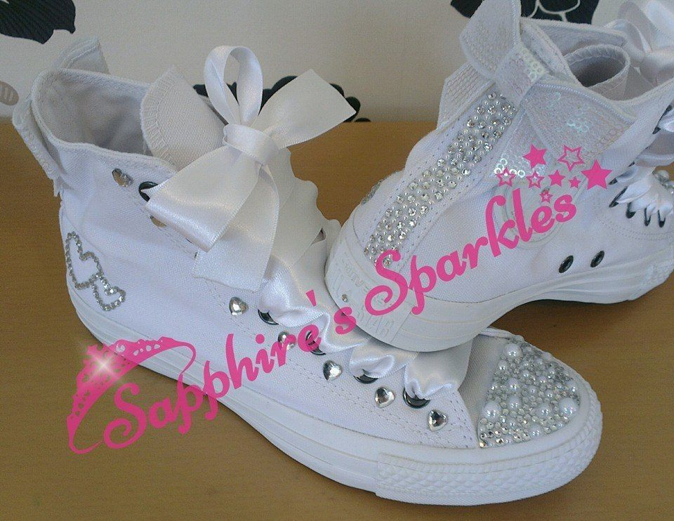 Customised Bling Bridal Pearl Bow Mono All White Converse Hi Tops 3 4 5 6 7