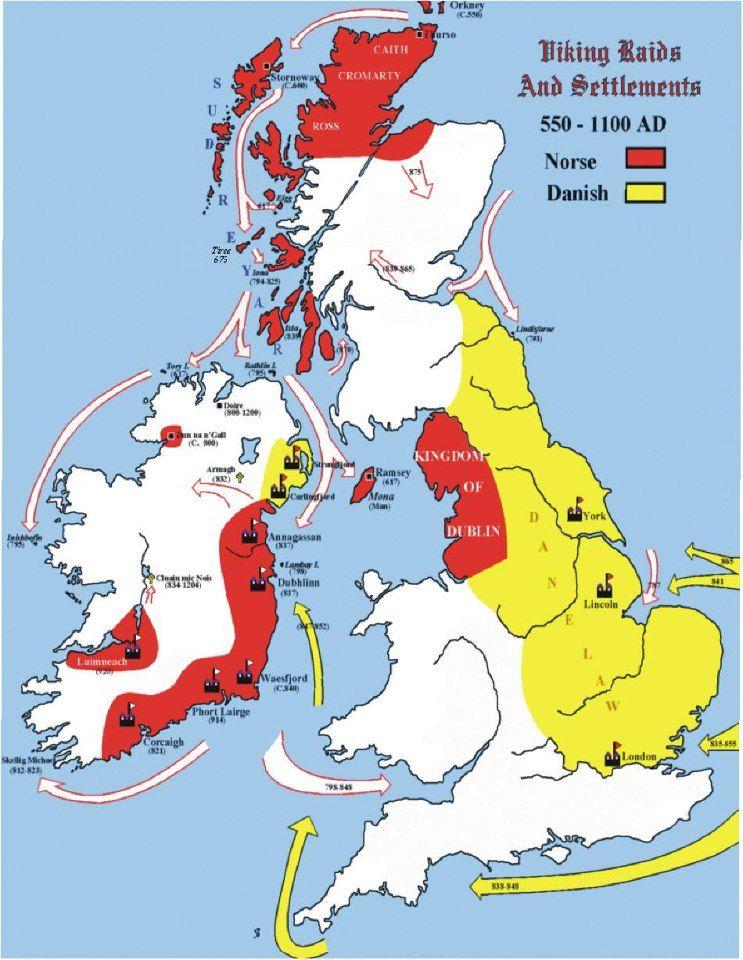 Great Map Show Danish As Well As The Norwegian Raids And Settlement Viking Blog Eldrakkar Blogspot Com Viking History Vikings History