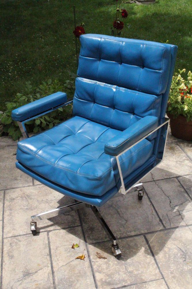 Vintage Mid Century Blue Leather Office Desk Arm Chair Milo