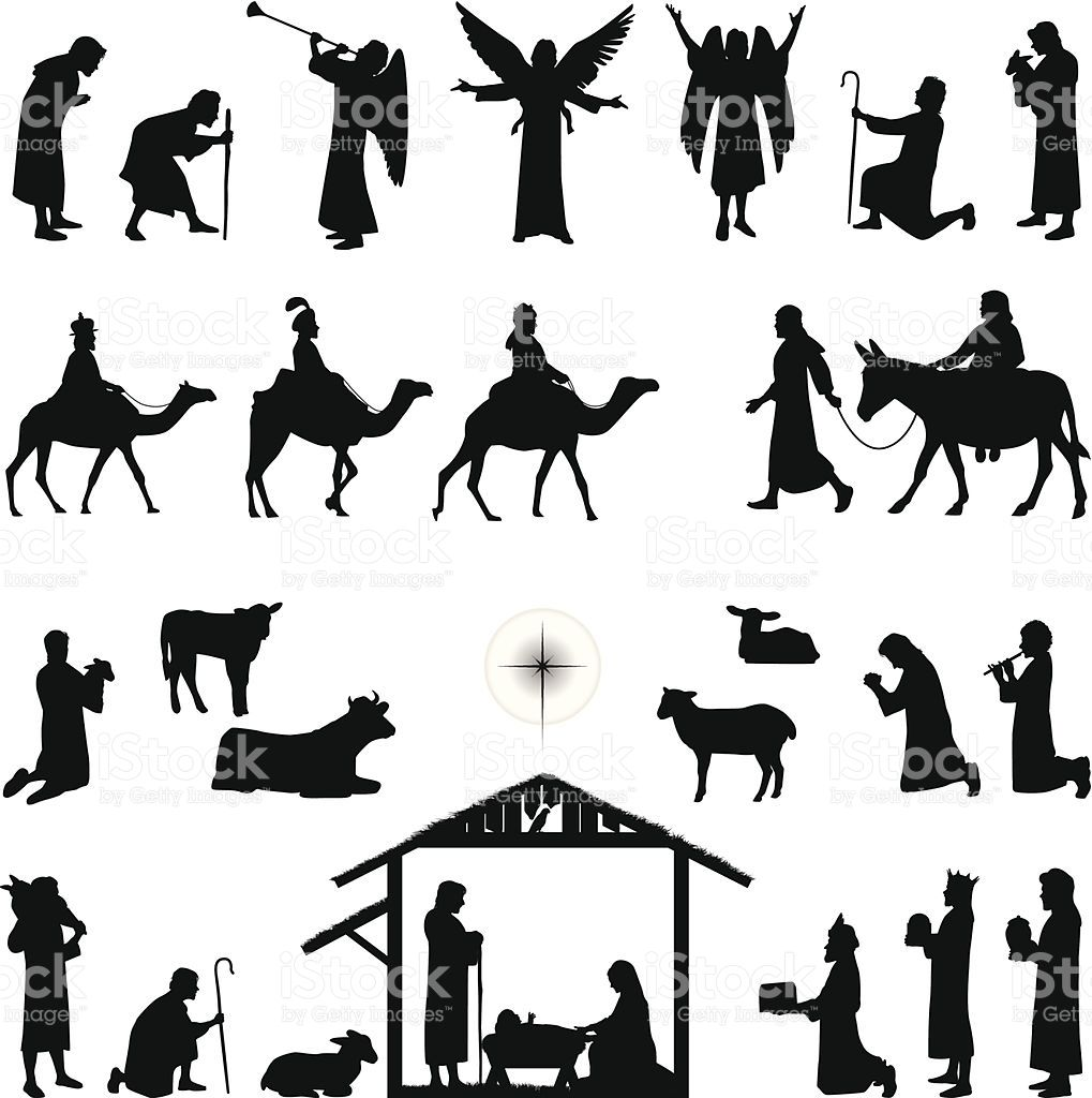 Nativity scene silhouettes. Files included jpg, ai , svg