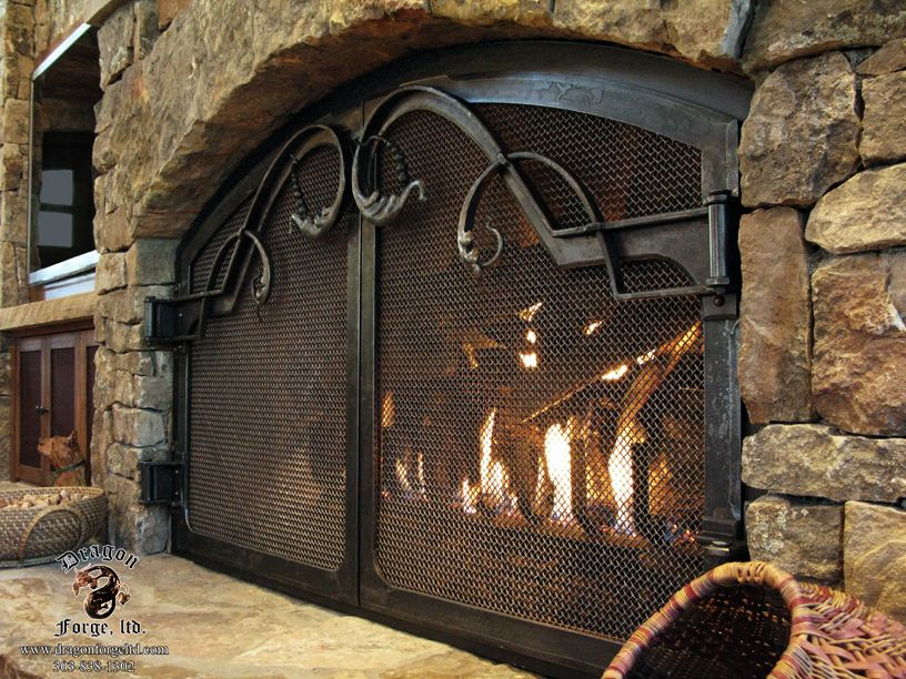 Forged Iron Fireplace Screen : Forged iron fireplace doors catherine s pin pinterest