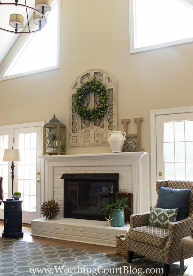 Fireplace makeover before and after brass fireplace - Over the fireplace decor ...