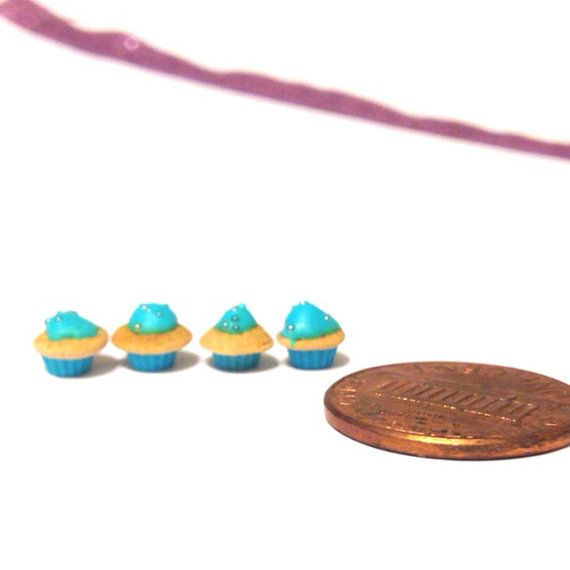 Dollhouse miniature cupcakes 1/24th scale - set of four. Turquoise, polymer clay on Etsy, $16.00