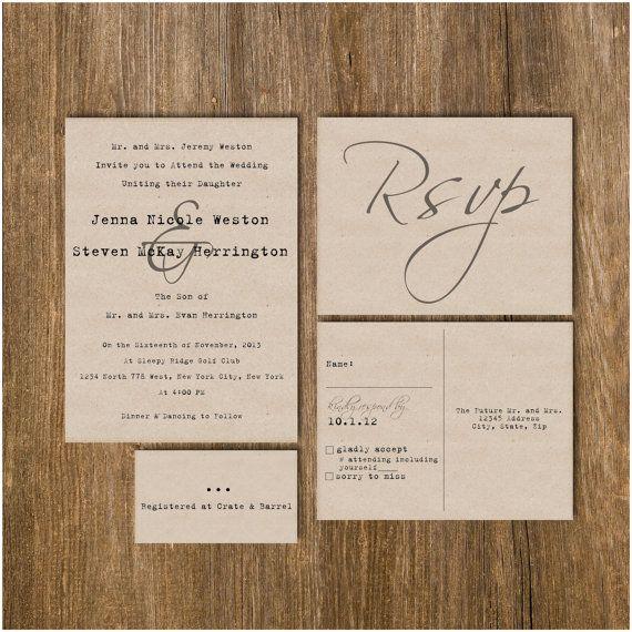 Traditional Vintage Typewriter Wedding Invitation On Kraft Paper