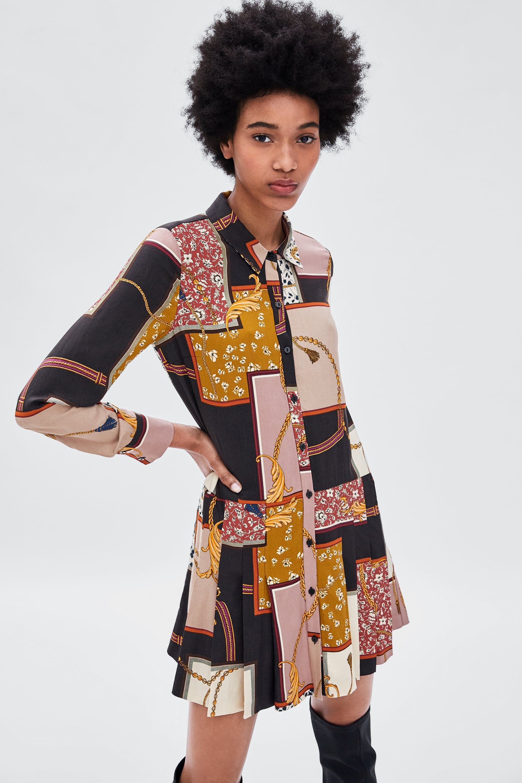 Image 2 Of Patchwork Chain Print Dress From Zara Zara Fashion Textiles Fashion Fashion
