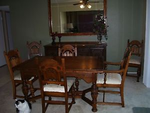 antique oak jacobean style table buffet and 6 chairs | jacobean