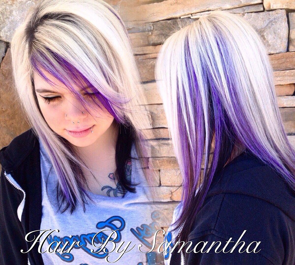 Icy blonde with black underneath and purple peekaboos hair