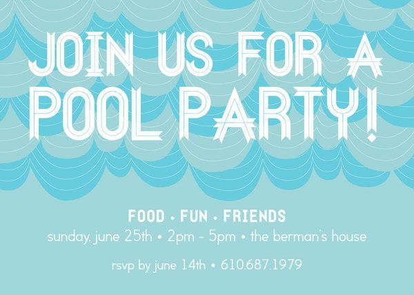 Pool party invitation by Kramer Drive available at Salutations - pool party invitation