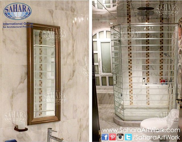 Shower Enclosure Made From Clear Glass And Sandblasted Stripes And