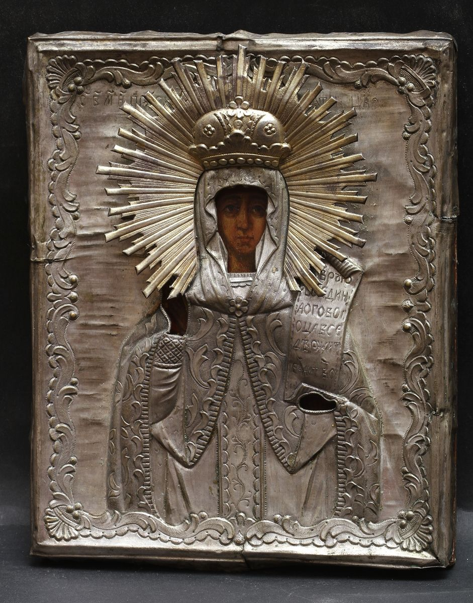 Russian icon of Holy Great-martyr Paraskeva of Iconium [3rd C] The icon is in brass silver plated oklad and gilded halo.