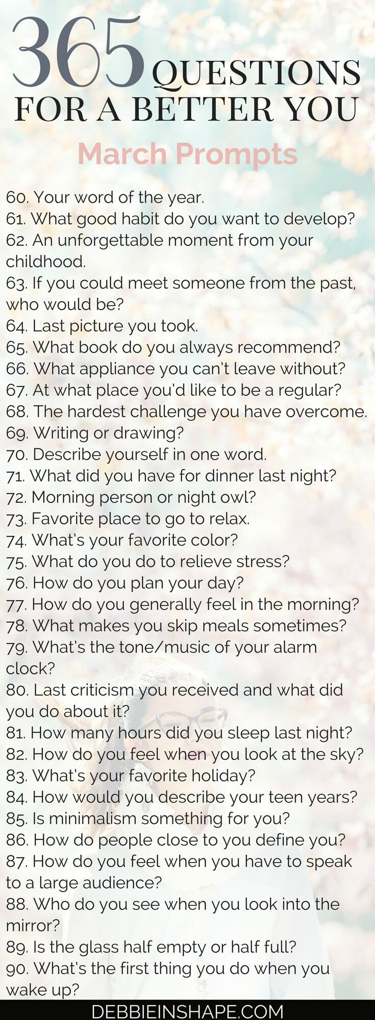 It's time to wrap up the quarter with the 365 Questions For A Better You, the March edition. Your daily break for inspiration, relaxation, and self-discovery. Join my FREE VIP Tribe today to download the entire list and access exclusive content and deals. #productivity #confidence #success #personaldevelopment #journaling #prompts #365questionsforabetteryou