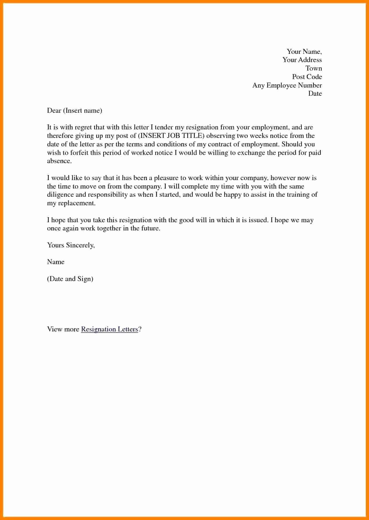 2 Week Notice Letter for Retail Beautiful 5 Job