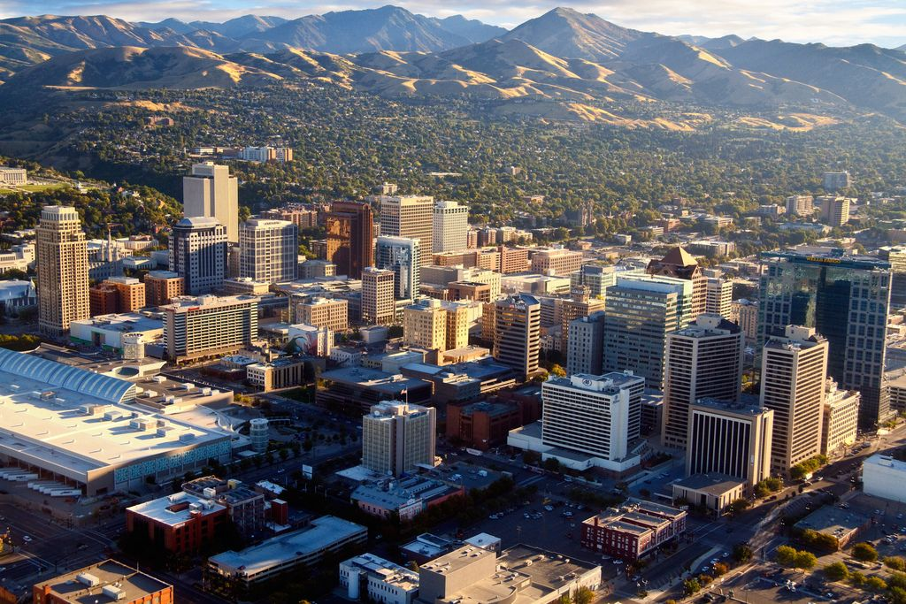 salt lake city downtown arial view by douglas pulsipher. Black Bedroom Furniture Sets. Home Design Ideas