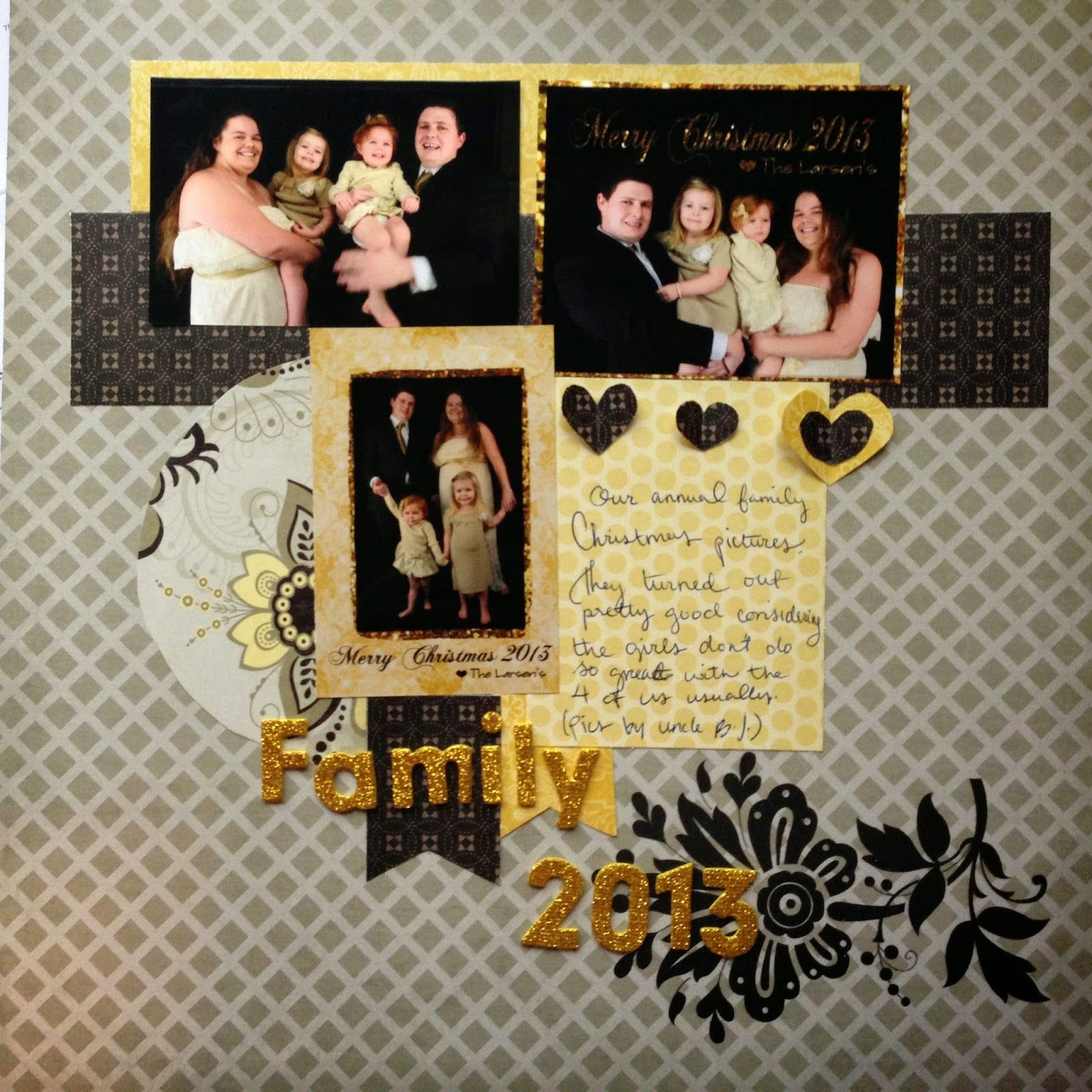 scrapbook layout, scrapbooking family gold glitter dcwv | My ...