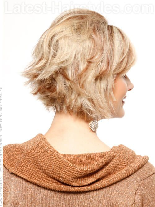 Layered Flipped Short Cut With Volume At Crown Back View Hair