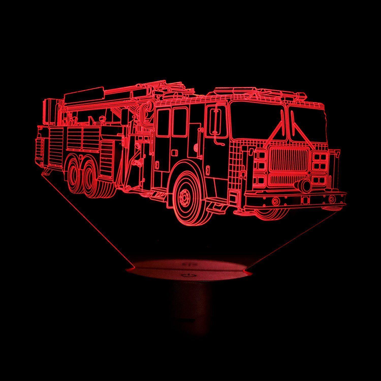 Hpbn8 3d Feuerwehr Auto Illusions Led Lampen Tolle 7 Farbwechsel Acryl Beruhren Tabelle Schreibtisch Nacht Licht Mit Usb Kabel Farbwechsel Led Lampe Geschenke