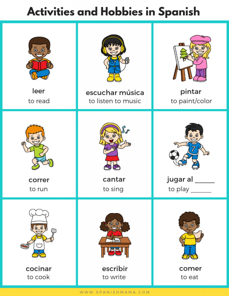 Spanish For Kids Sports Activities And Hobbies In