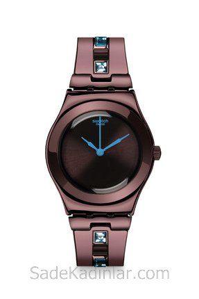 Swatch Saat Modelleri Kahverengi Kordonlu Taş Detaylı