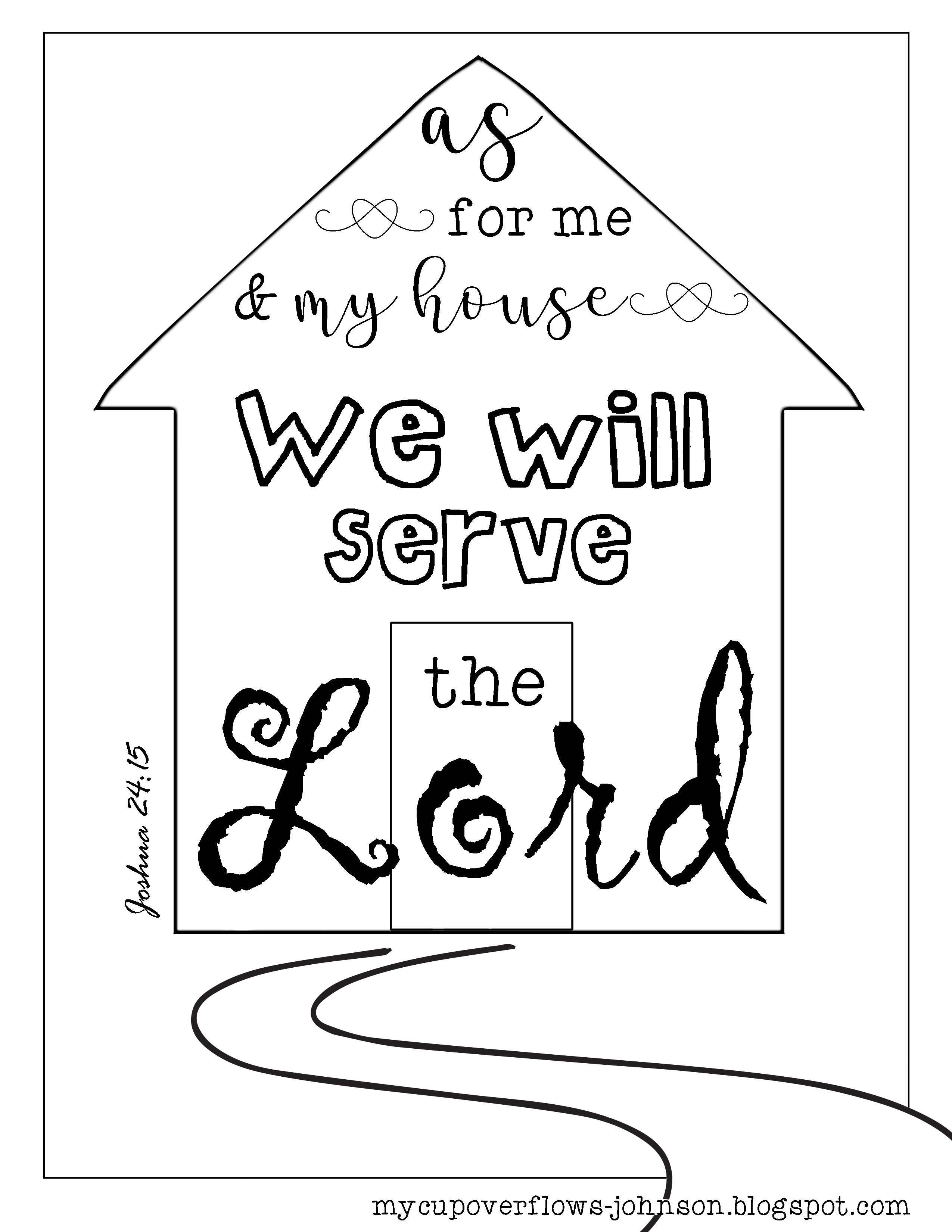 My cup overflows as for me and my house we will serve the lord joshua 2415 coloring page