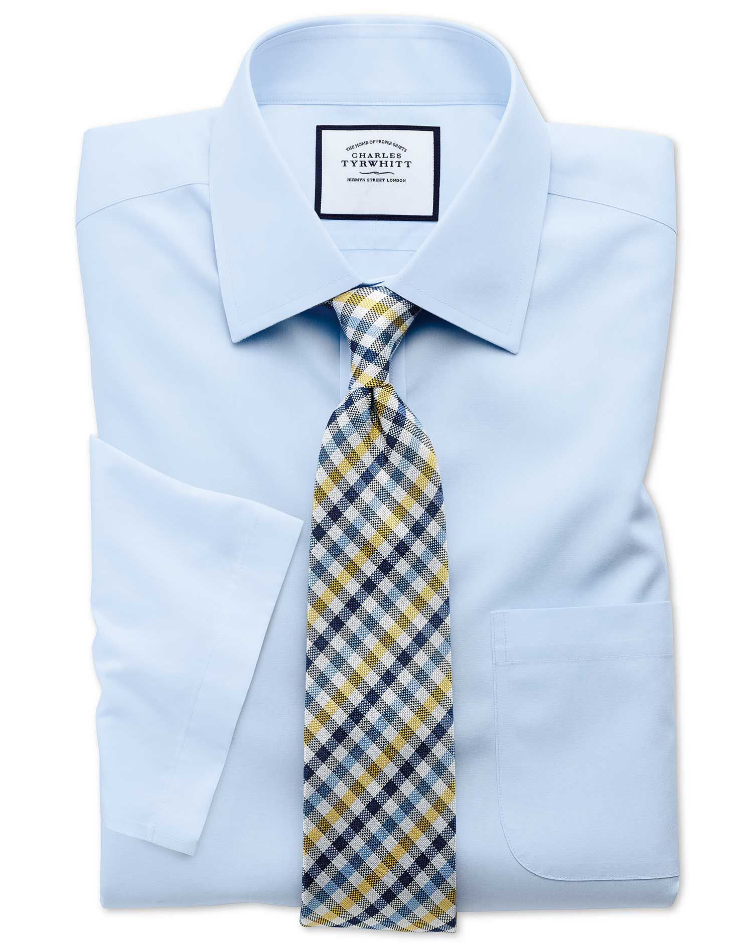 Classic Fit Sky Blue Non-Iron Poplin Short Sleeve Cotton Dress Shirt Size 17.5/Short by Charles Tyrwhitt #shortsleevedressshirts
