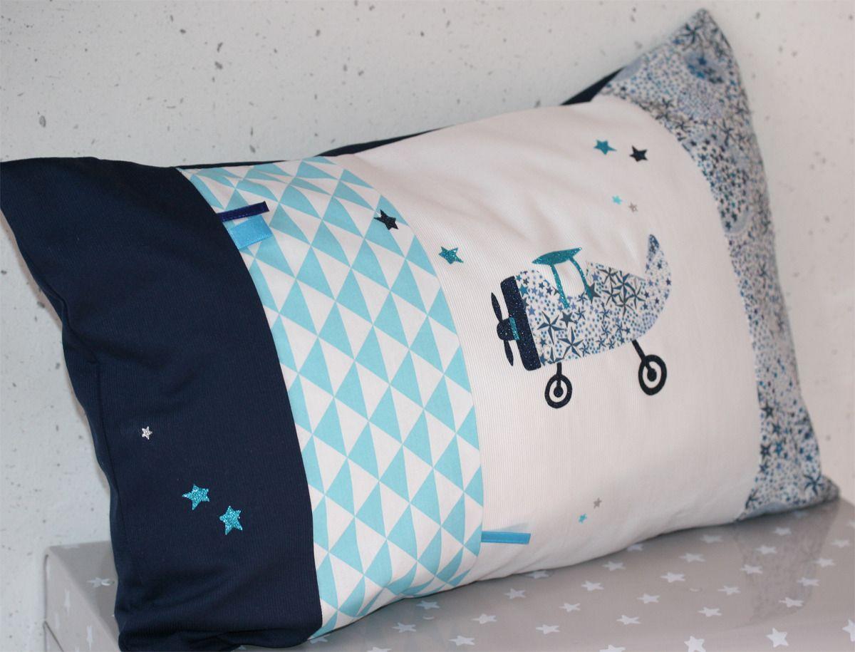 """Coussin """"Pti'Prince"""" en liberty Adelajda bleu, gris, marine 50x30 cm : Linge de lit enfants par lilouetpuce"""
