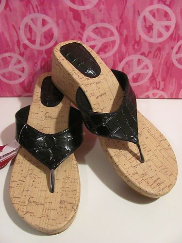 dbd33e9cb FOOTNOTES BRAND CORK WEDGE THONG SLIDES BRAND NEW WITH TAGS FAUX CROC BLACK  SIZE XL 10 11 ALL MAN MADE PATCH ON HEEL VERY CUTE SUPER STYLISH WONDERFUL  ...