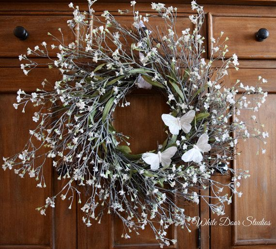 Indoor Wreaths Home Decorating: White Baby's Breath And Butterfly Wreath