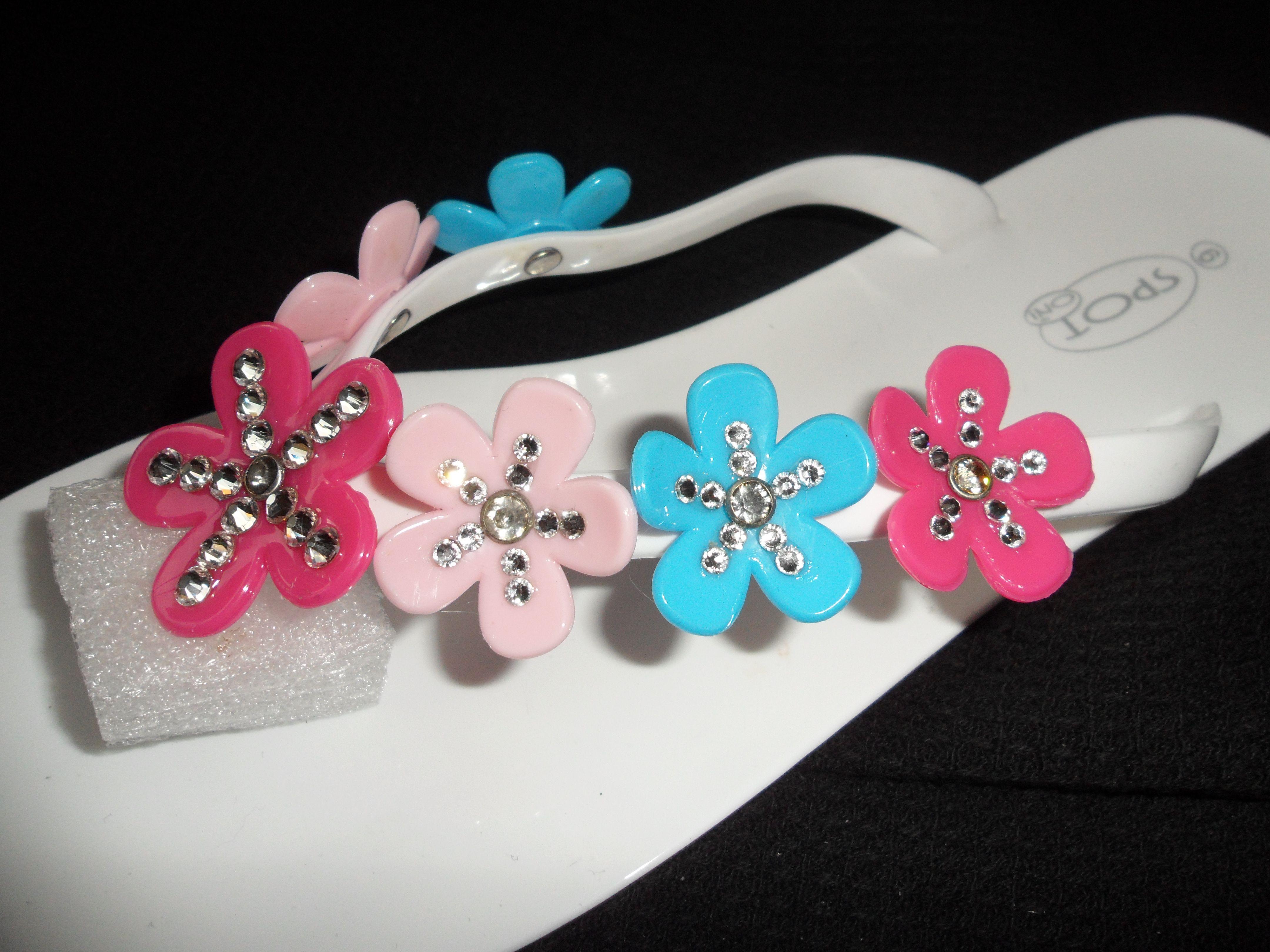 ab586f4fb418d Flower Jel flip flops with Swarovski gems