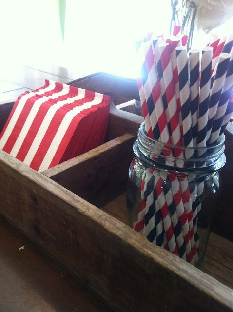 Fourth of July decor// party supplies Striped straws