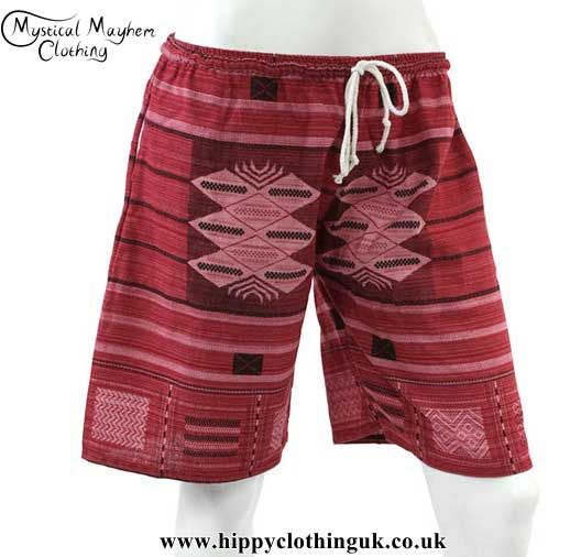 0307310ae28 Red Long Cotton Hippy Festival Shorts - One Size in 2019