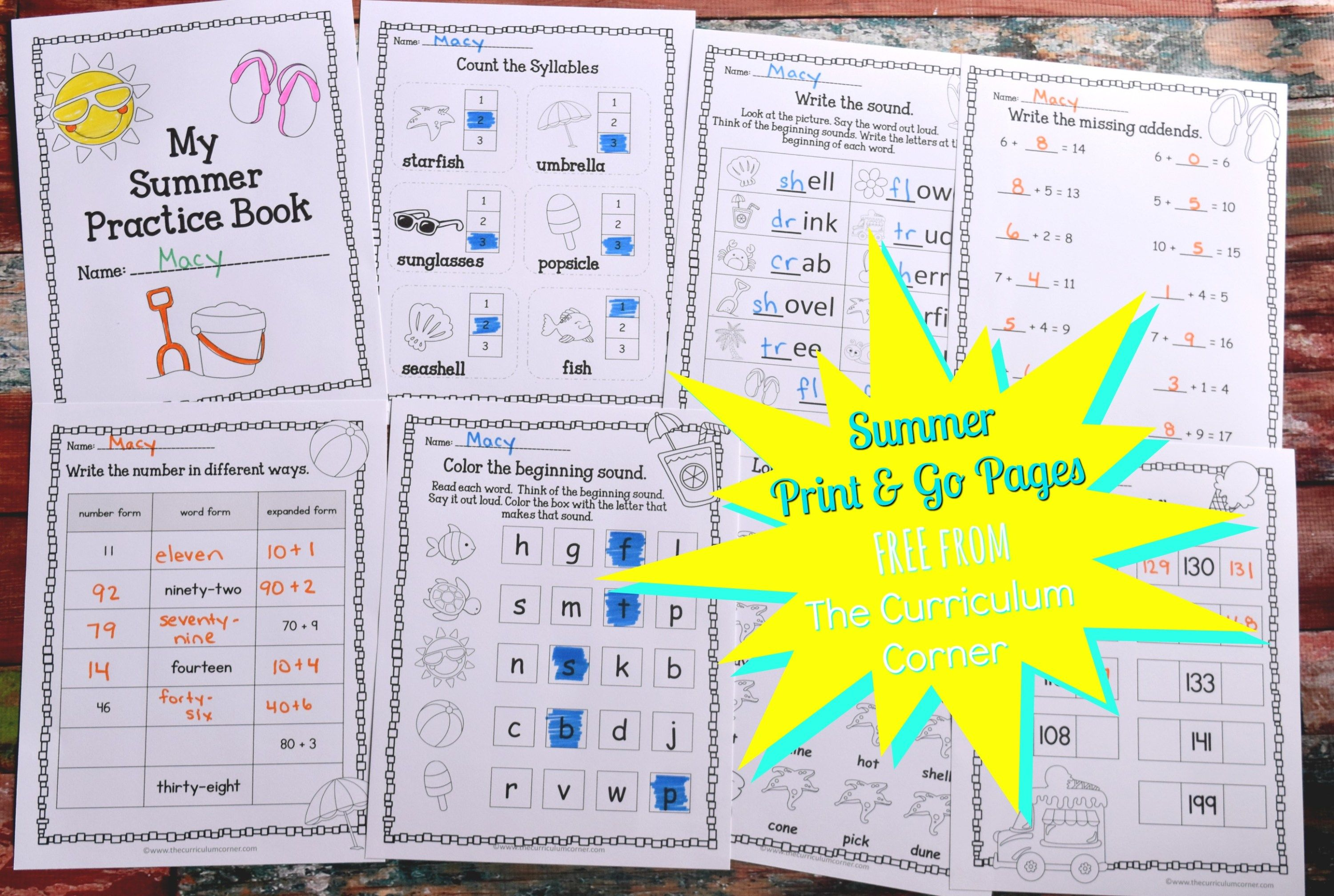 Summer Print Amp Go Pages