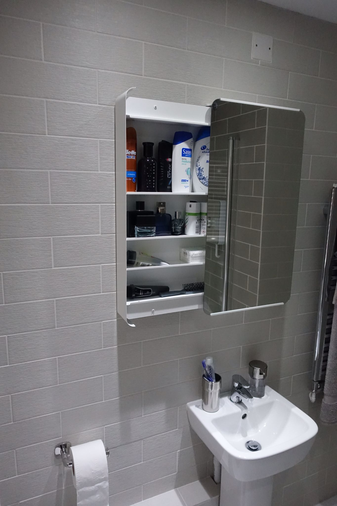 The bathroom was purchased from ikea (Brickan