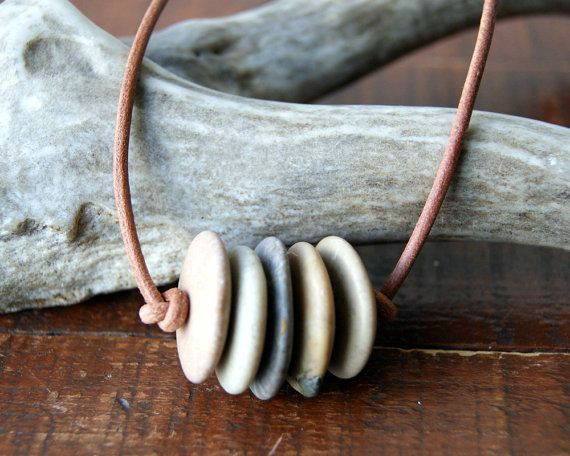 Photo of Beach Stone Bar Necklace with Leather Cord