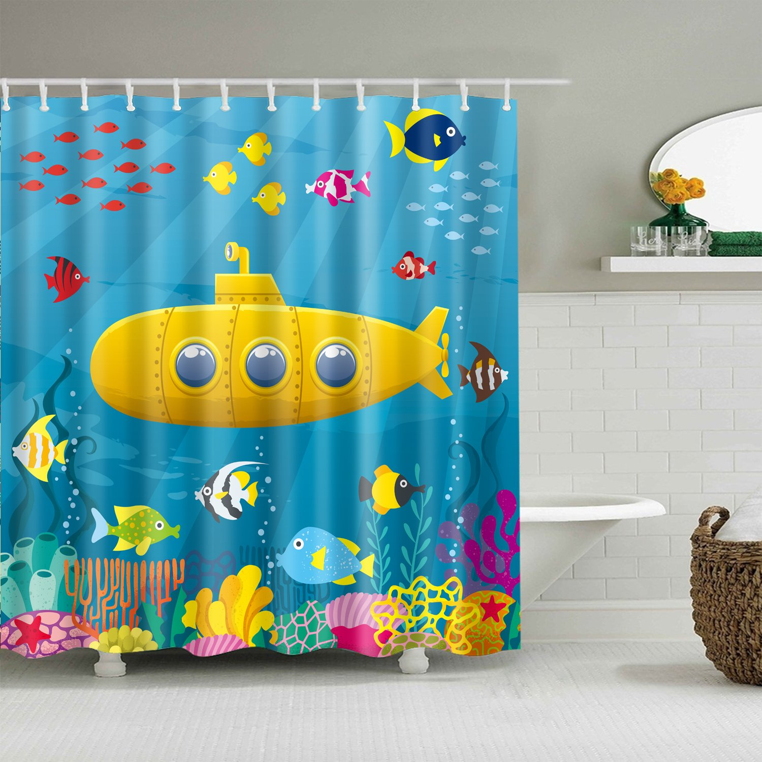 Kids Nautical Yellow Cute Submarine Shower Curtain Bathroom Decor