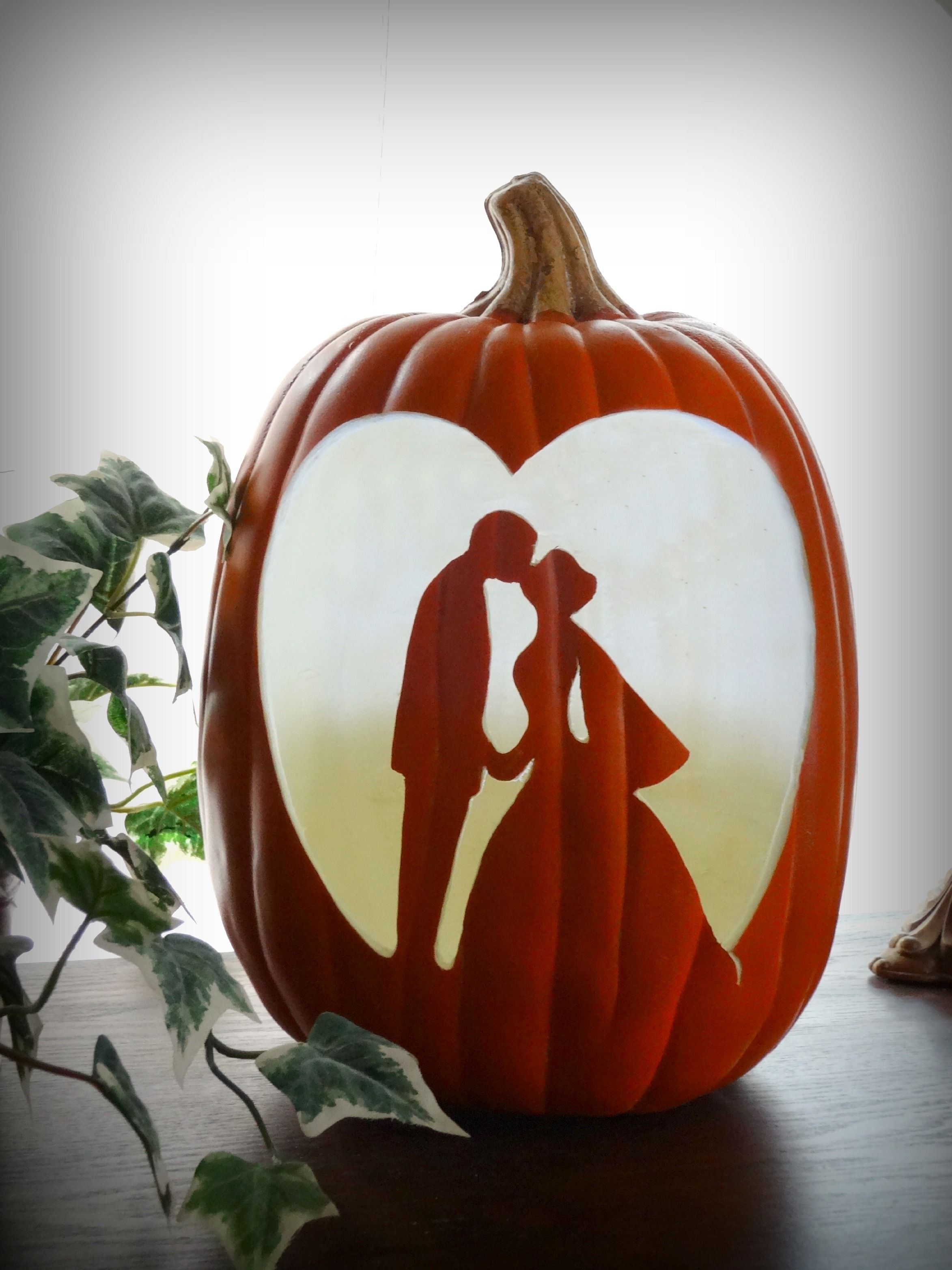 Foam Hand Carved Wedding pumpkin...Bride and Groom's 1st kiss ...