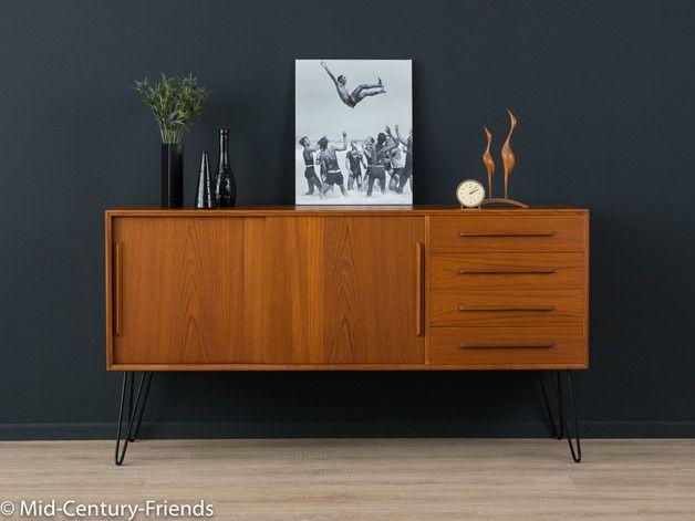 Klassisches sideboard der 1960er jahre korpus in teak furnier mit vier schubladen zwei - Dawanda hairpin legs ...
