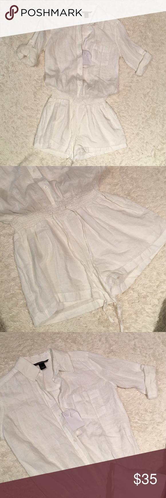 White linen VS 0 jumper shorts new Brand new- adorable!!!! White linen Victoria's Secret Shorts