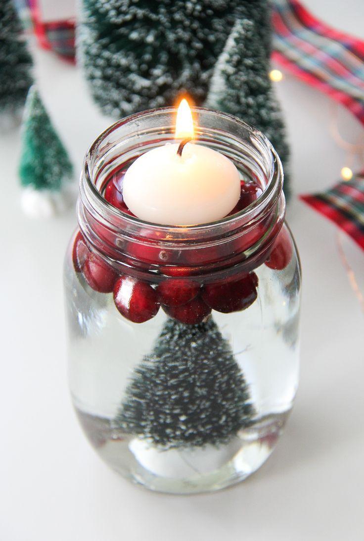 Bottle Brush Mason Jar Candles Mason Jar Candles Candle Jars Christmas Mason Jars