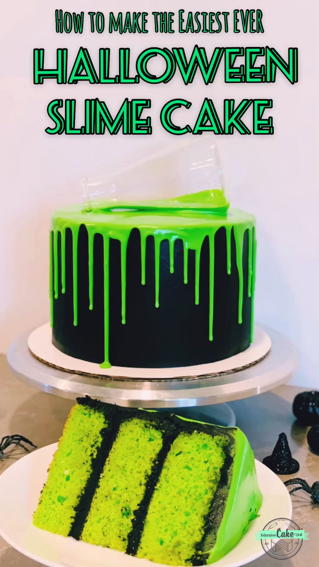 How to make a creepy-looking but delicious Halloween green 'slime' drip cake! Super simple and perfect for any Halloween party! #halloweencakes #dripcakes #simplecakedecorating #easyhalloweencakes #halloweenbaking #halloweencakeideas #halloweenbakingideas #halloweenparty