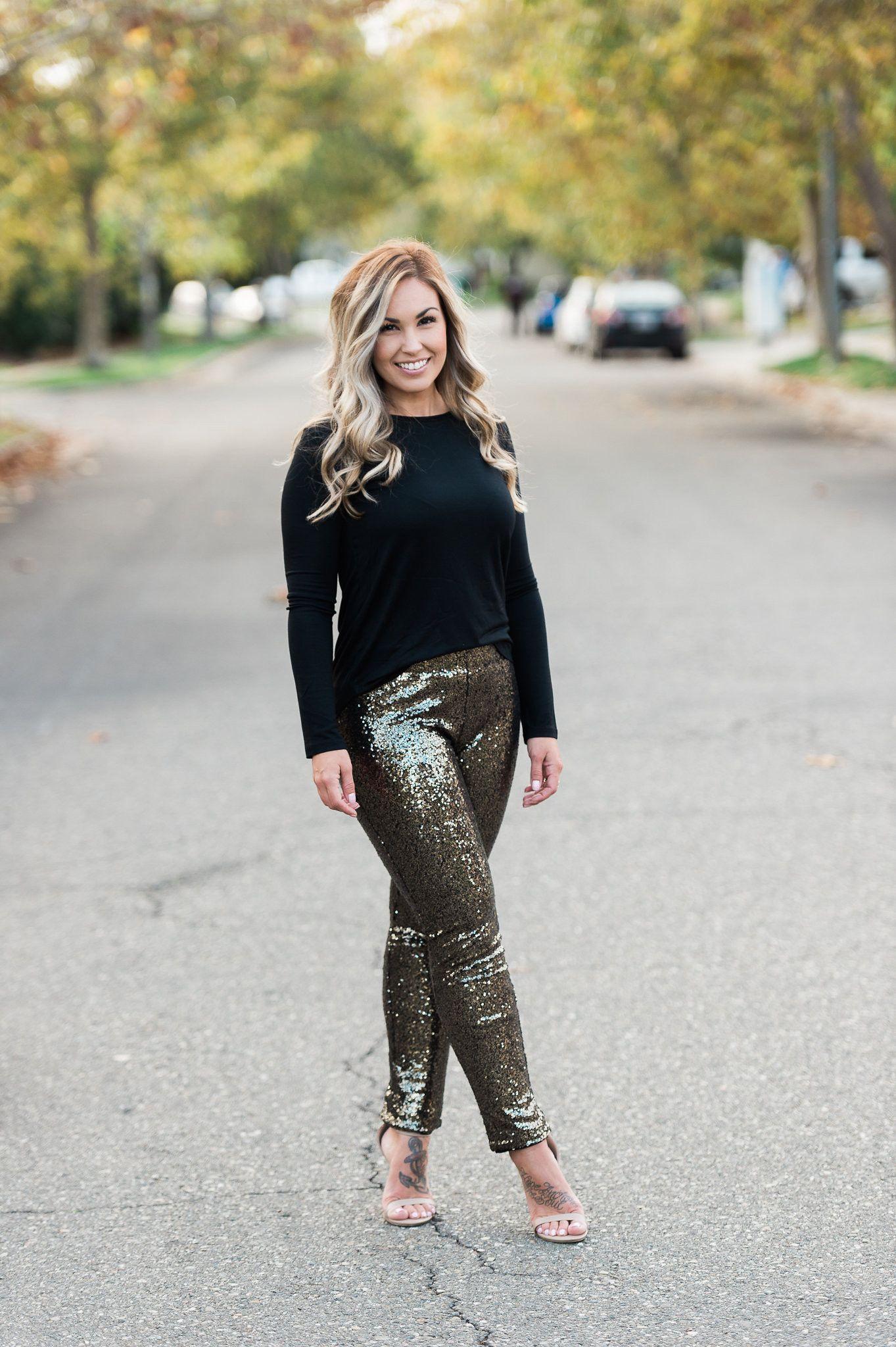 Holiday Bronze Sequin Leggings Sequin leggings, Sequins