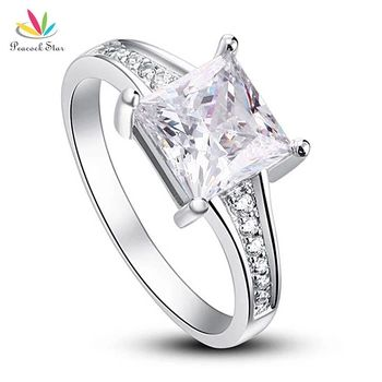 Wholesale Free Shipping 1.5 Ct Princes Cut Created Diamond Solid 925 Sterling Silver Wedding Promise Engagement Ring CFR8006